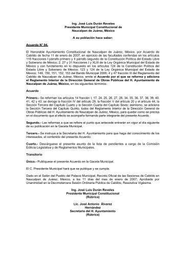 Reglamento Interior de la Dirección General de Obras Públicas.