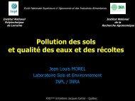 Pollution des sols et qualité des eaux et des récoltes - INRS Centre ...