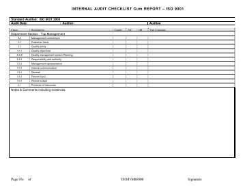 Iso 90012008 internal audit checklist sample quality coach internal audit checklist cum report iso 9001 page no pronofoot35fo Images