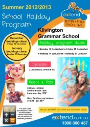 School Holiday Program - Extend