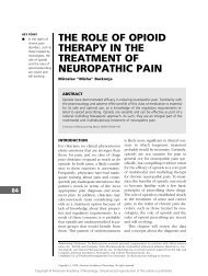 the role of opioid therapy in the treatment of neuropathic pain