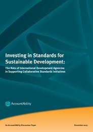 Investing in Standards for Sustainable Development: - AccountAbility