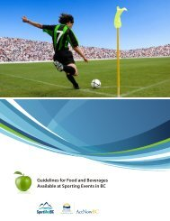 Guidelines for Food and Beverages Available at Sporting Events in BC