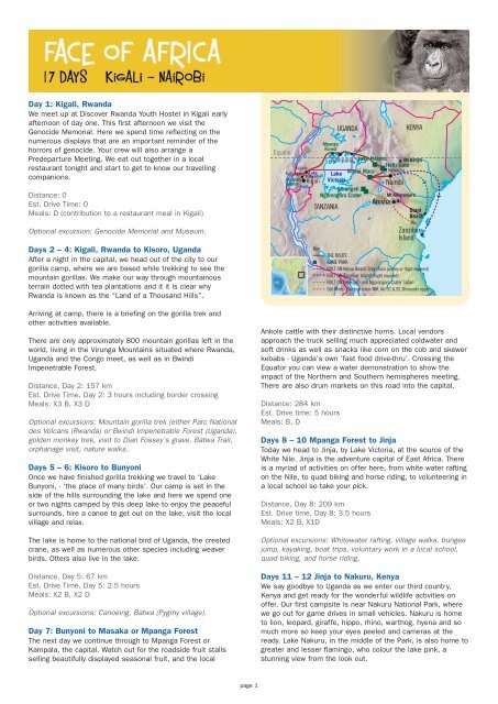 Detailed itinerary  Click here - Absolute Africa