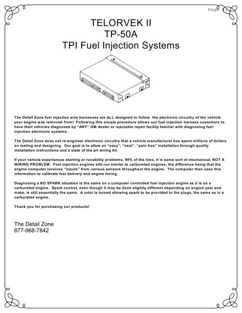 telorvek ii tp-50a tpi fuel injection systems - ron francis wiring  yumpu