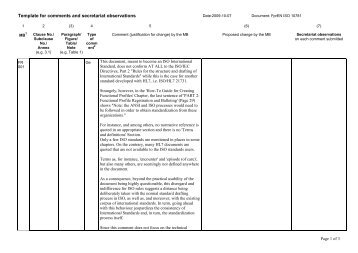 Template for comments and secretariat observations - HL7