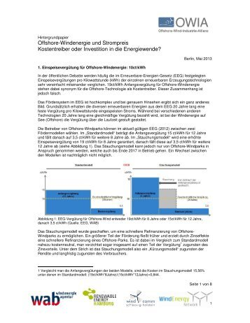 Offshore-Windenergie und Strompreis Kostentreiber oder Investition ...