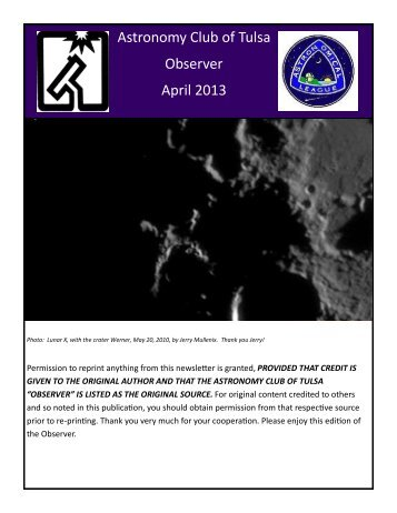 Apr - Astronomy Club of Tulsa