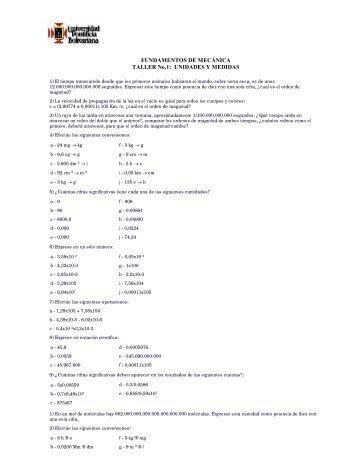 FUNDAMENTOS DE MECÁNICA TALLER No.1: UNIDADES Y ...