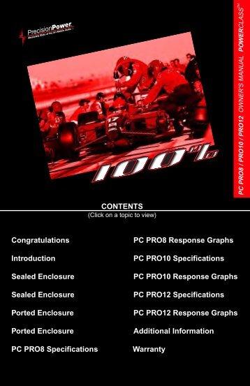 CONTENTS Congratulations PC PRO8 Response ... - Precision Power