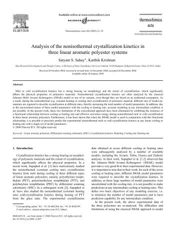 Analysis of the nonisothermal crystallization kinetics in ... - TRDDC