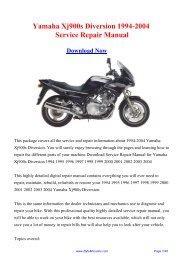 Yamaha Xj900s Diversion 1994-2004 Service Repair Manual