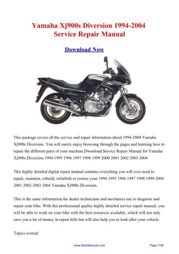 Yamaha Xj900s Diversion 1994-2004 Service Repair Manual