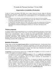 TD-projets de Physique Quantique 1°A (mai 2006 ... - Sylvain REYNAL