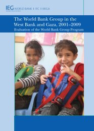 The World Bank Group in the West Bank and Gaza, 2001–2009
