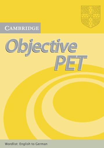 Objective PET wordlist - Cambridge University Press