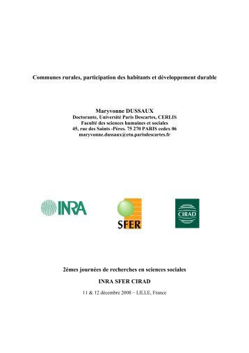 Communes rurales, participation des habitants et ... - Sfer