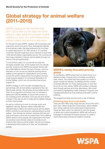 Global strategy for animal welfare (2011–2015) - WSPA