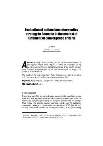 Evaluation of optimal monetary policy strategy in Romania in the ...