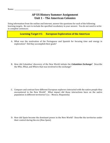 ap us history unit 01 Dual credit / ap us history / memorial high school – spring semester unit 7 exam review exam format: the unit 7 exam will consist of 50 multiple choice questions.
