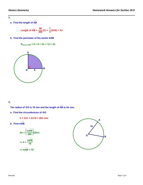 Honors Geometry Homework Answers for Section 10 9 6  8