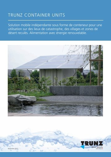 Fiche d'information Container - Trunz Water Systems AG