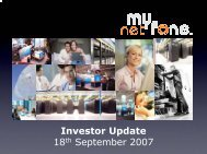 Investor Update 18th September 2007 - MyNetFone