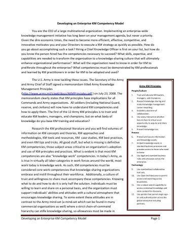 Developing an Enterprise KM Competency Model Article - Digital ...