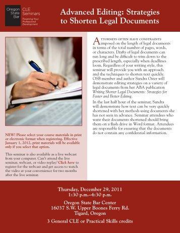 Advanced Editing: Strategies to Shorten Legal Documents