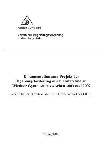 Dokumentation zum Projekt der Begabungsförderung in der ...