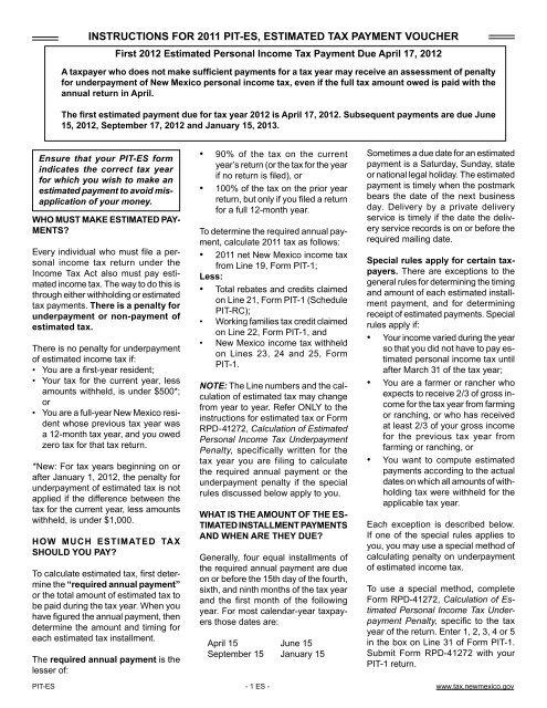 Instructions For 2011 Pit Es Estimated Tax Payment Voucher