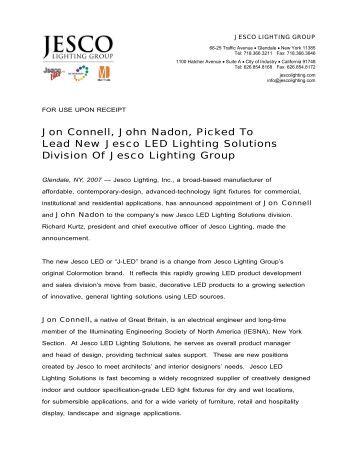 led flexible linear • dl flex up static series jesco lighting jon connell john nadon picked to lead new jesco led lighting
