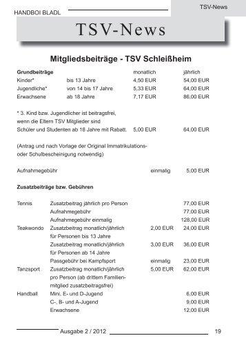 TSV News, Trainingszeiten und Termine - Handball in Schleißheim