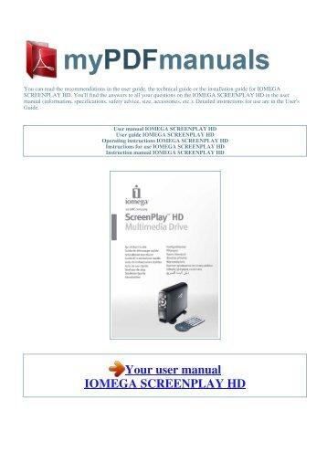 User manual iomega screenplay mx 1.