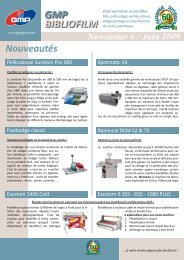 Newsletter 6 / Juin 2009 GMP BIBLIOFILM