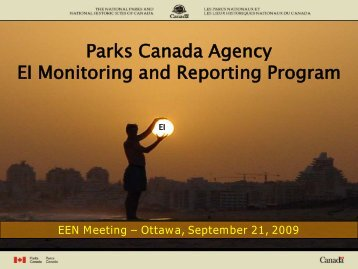Parks Canada Agency EI Monitoring and Reporting Program