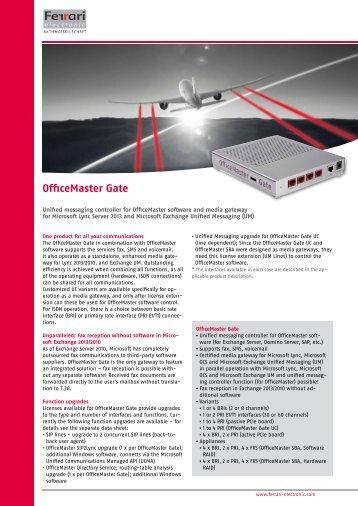 Data sheet OfficeMaster Gate - Ferrari electronic AG