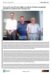 Area nord e zona di Carpi: siglato accordo per forniture energetiche ...