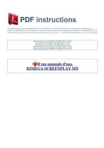 Mode d'emploi iomega screenplay mx 1.
