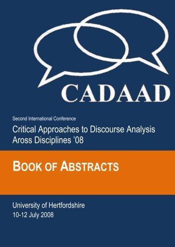 BOOK OF ABSTRACTS - CADAAD
