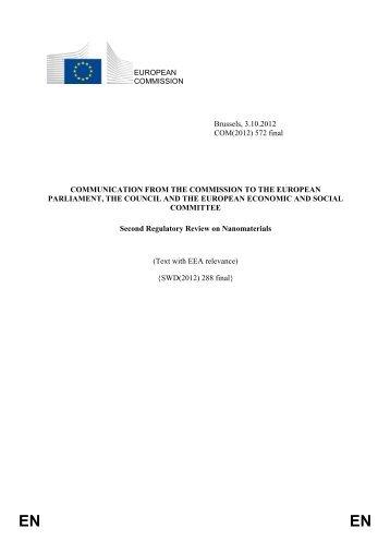 Second Regulatory Review on Nanomaterials - European ...