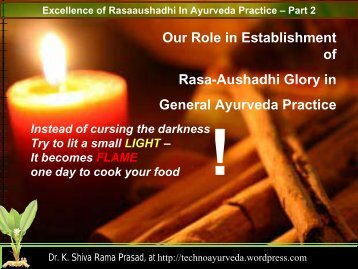 Our Role in Establishment of Rasa-Aushadhi ... - Techno Ayurveda
