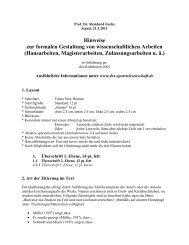 Hinweise zur formalen Gestaltung von Abschlussarbeiten