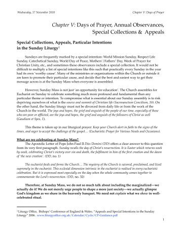Days of Prayer, Annual Observances, Special Collections & Appeals
