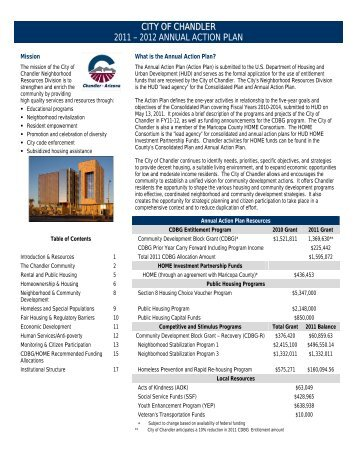 CITY OF CHANDLER 2011 – 2012 ANNUAL ACTION PLAN