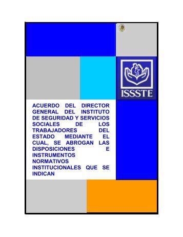 acuerdo del director general del instituto de seguridad y ... - ISSSTE