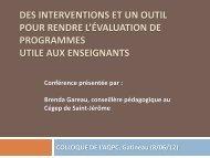 Des interventions et un outil pour rendre l'évaluation de ... - AQPC