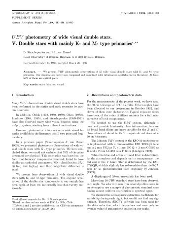 PDF (456.7 KB) - Astronomy and Astrophysics Supplement Series