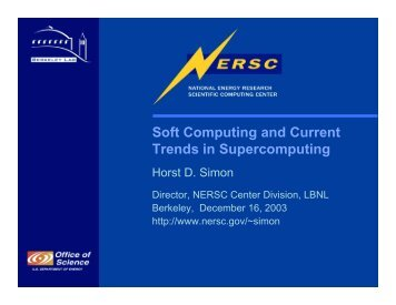 Soft Computing and Current Trends in Supercomputing - NERSC