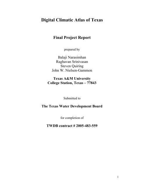 Digital Climatic Atlas of Texas - Texas Water Development Board